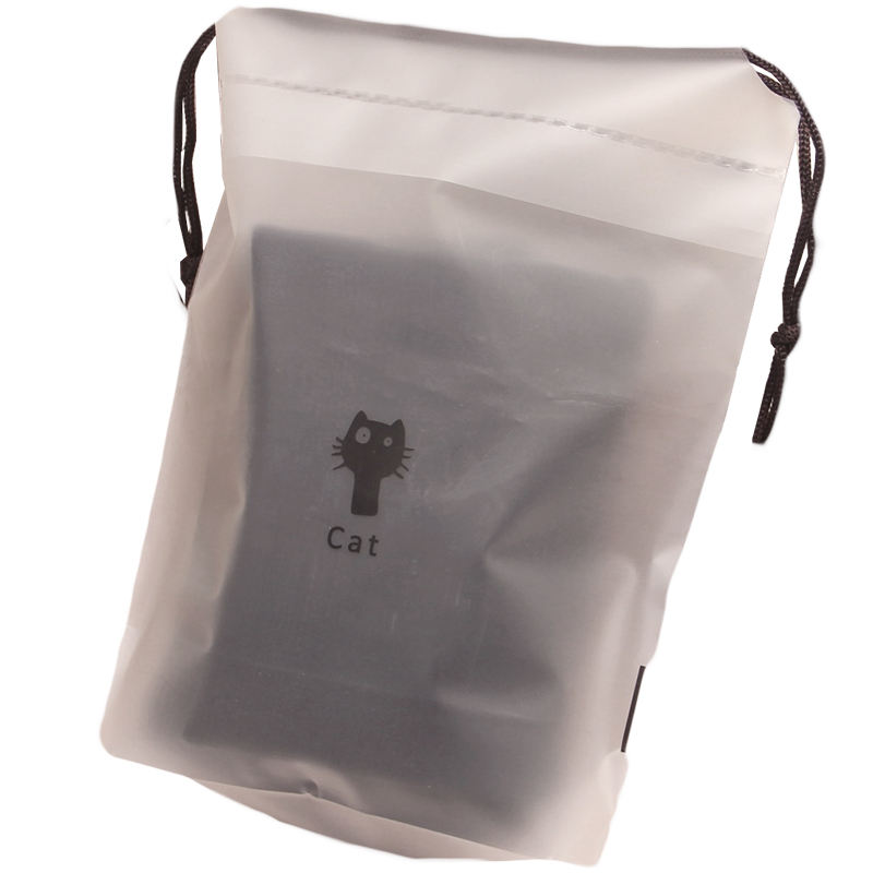 Customized cute clear/ frosted drawstring storage bag for clothes