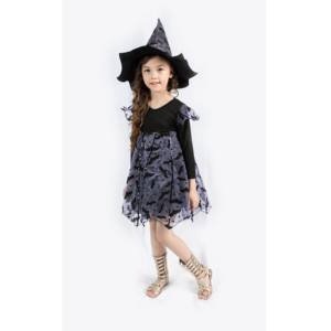 Fledermaus fliegen morden design hut kind hexe kleid kostüm kinder halloween kleid