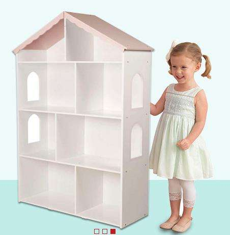Popular Style wood Storage Bookshelf Dolls Display Rack Home Doll house bookcase for children