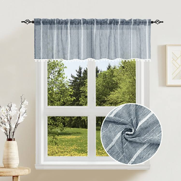 Factory price flame retardant decorative modern blue kitchen window valance design
