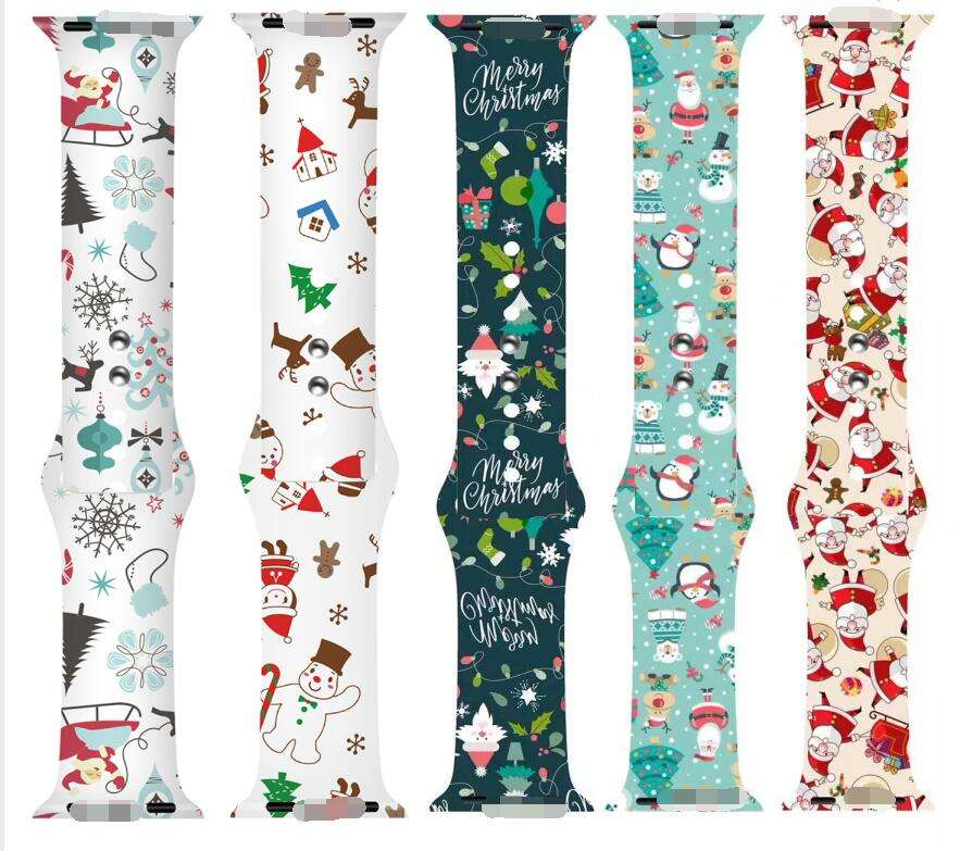 2020 For Christmas tree design for Apple Watch band Series 6 se Santa Claus snowman Protective Watch Band Strap