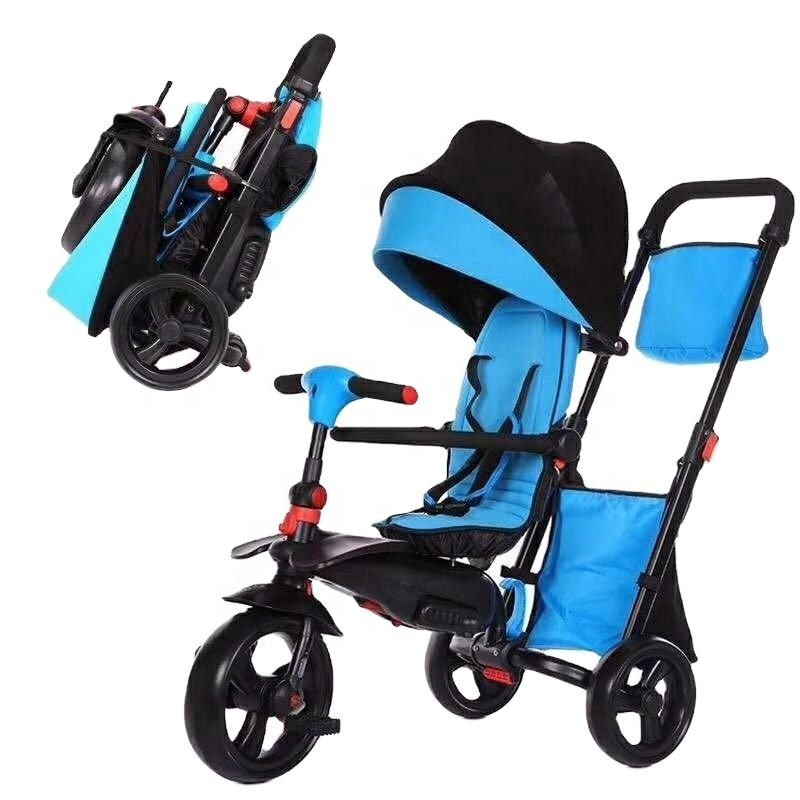 Hot Sale 4-in-1 Baby Folding Srtoller Tricycle Three Wheel With Handle Push Kids Trike