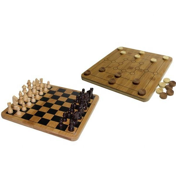 Bamboe Chinese Outdoor Schaakspel + Negen Mannen Morris + <span class=keywords><strong>Checkers</strong></span> Board Games Set