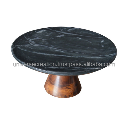 Factory hot sale wood bracket marble circular cake tray cake stand 10 inch china wholse factory