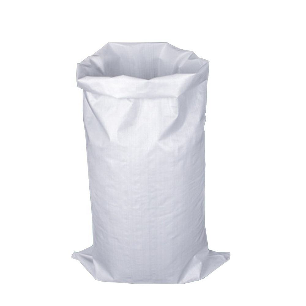 factory price OEM 25kg 50kg white color recycle packaging pp woven bag for rice flour fertilizer
