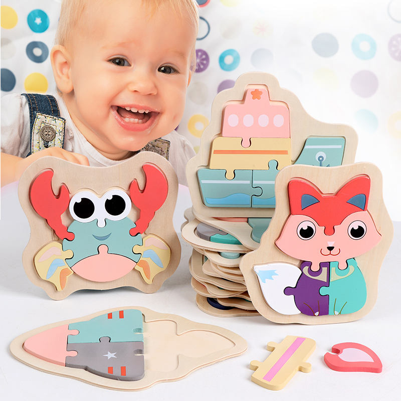 Wooden Macaron Colorful Animal Jigsaw Puzzle Toys for Toddler Creative Puzzle Early Educational Boys Girls