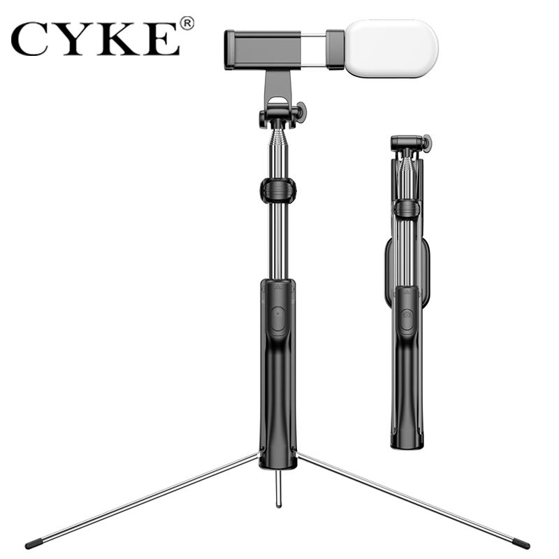 CYKE A19D tripod 4 in 1 Bluetooth flexible Selfie Stick with Tripod remote IOS and Android Phones with fill light