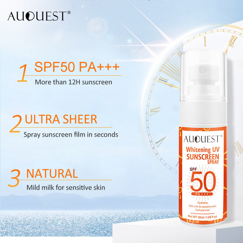 Wholesale SPF50 Waterproof Sweatproof Sun Screen Lotion Whitening Organic Sunscreen Spray