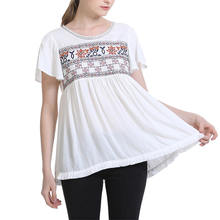 New Design Fashion In Stock Summer Short Sleeve Embroidery Pattern White Loose Blouse for Ladies