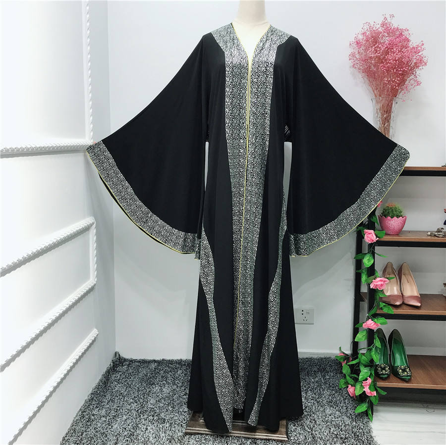 MuslimQLO elegant diamond studded Robe long women saudi abaya turkey stone design 2020 islamic dress