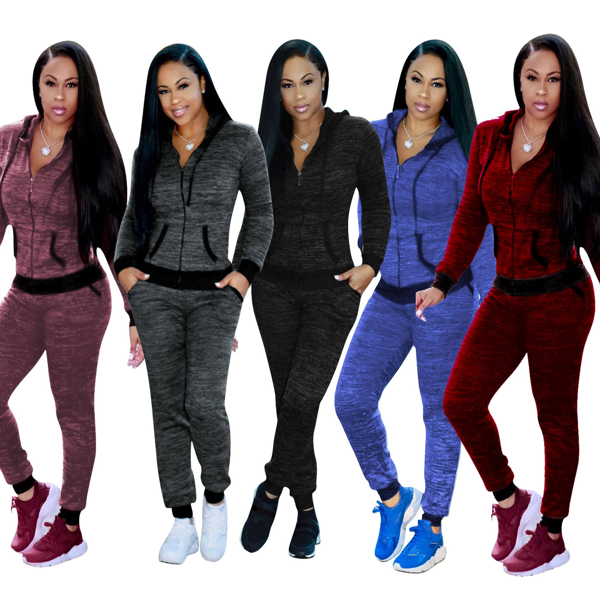 Bulk custom slim fit wholesale women joggingsuit sweat suits