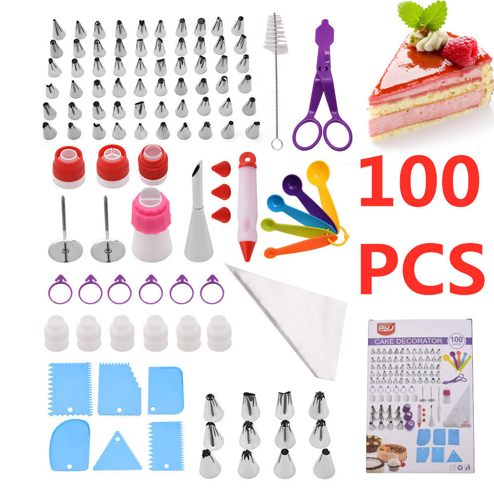 100pcs Cake Icing Slagroom Decoration Tips Tools Cake Decorating Nozzle Stainless Steel Cream Nozzle Set