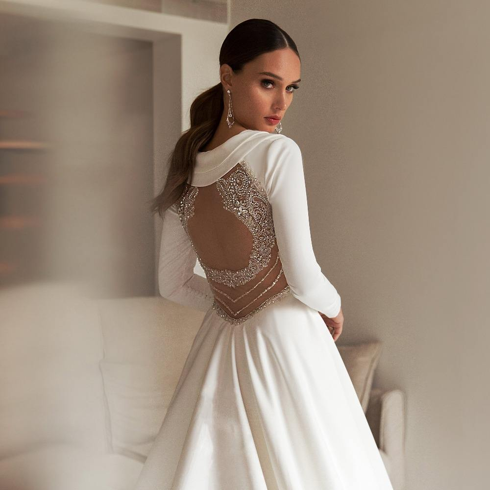 FANWEIMEI#6843 REAL PHOTO SOFT SATIN SIMPLE BEADING Long Sleeve A Line White V-Neck Wedding Dress BRIDAL GOWN