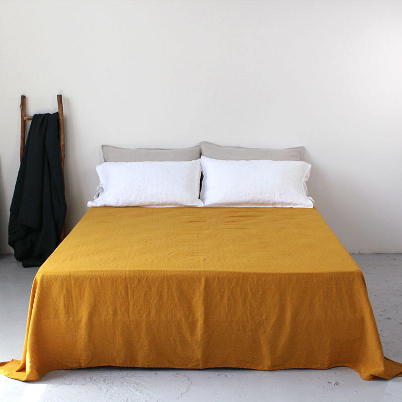 New Fabric! Breathable Sweat-absorbent Antibacterial Bamboo Fiber linen Flax blended Fabric Bed Flat Sheet bedding set