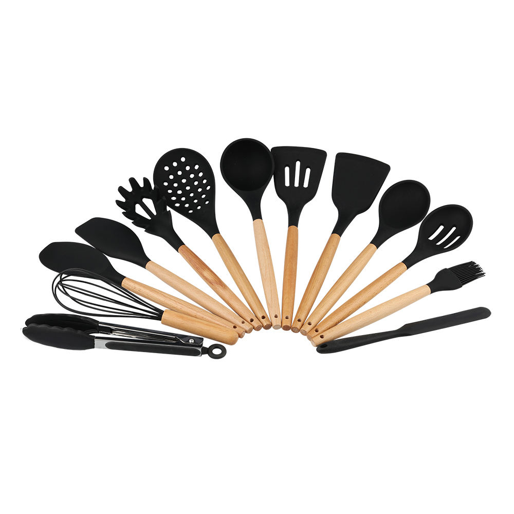 13Pcs Home Wood Silicone Kitchen Accessories Set Cooking