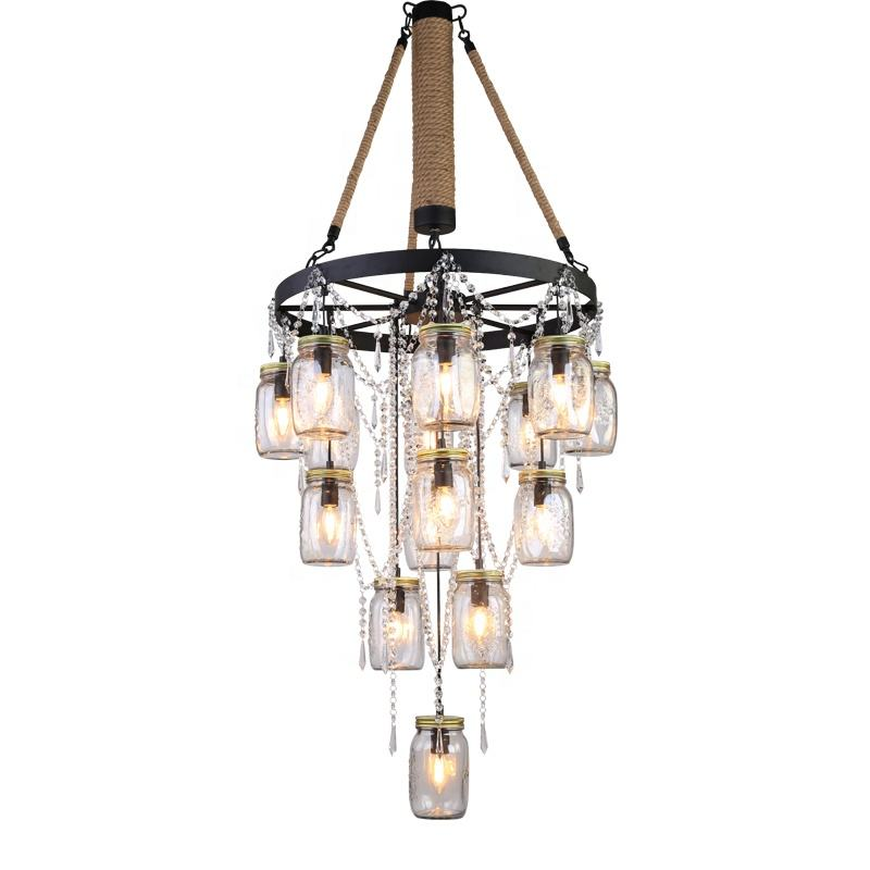 Good quality american style art rust coffee glass staircase chandelier pendant light