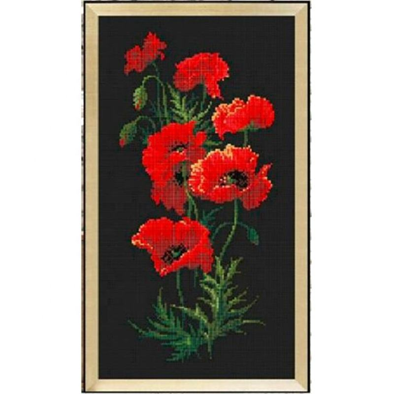 DPH006 Red poppy flowers cross stitch kit package plant sets aida 18ct 14ct 11ct black cloth kit embroidery DIY handmade need