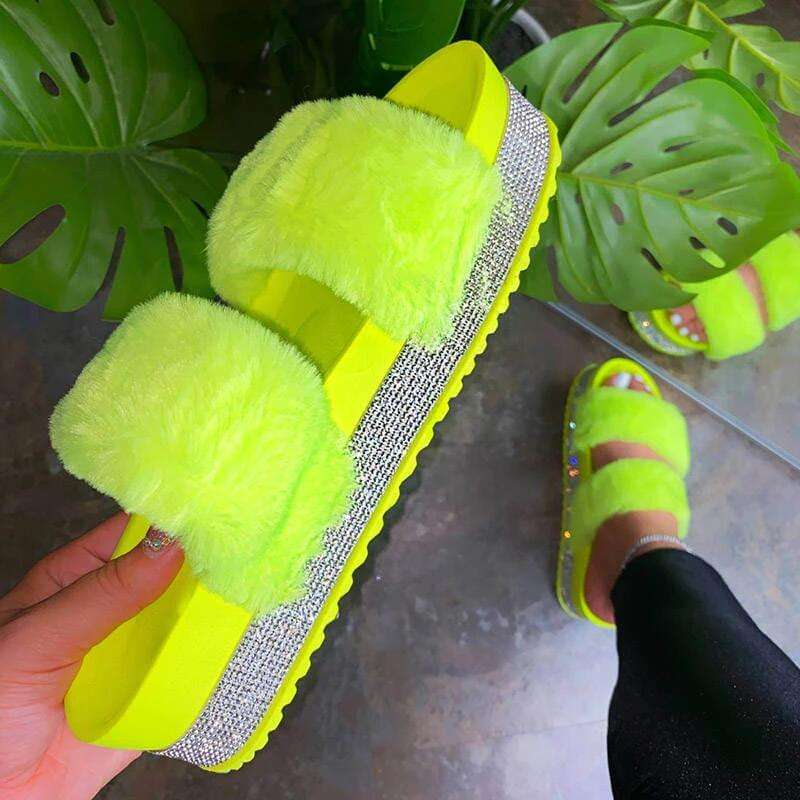 PDEP summer home fur slippers rhinestone cheap women slides jelly Diamond bling platform outdoors ladies sandals