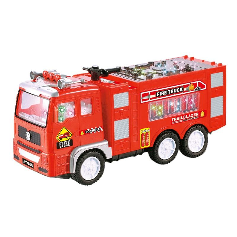 Electric Mini Fire Truck Kids Toy - with Bright Flashing 4D Lights & Real Siren Sounds | Bump and Go Firetruck for Boys