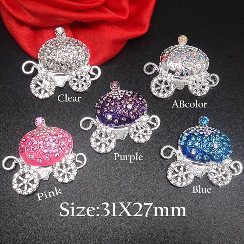31X27MM High quality Pink Princess Rhinestone Carriage Flatback Embellishing Button in silver for DIY Craft