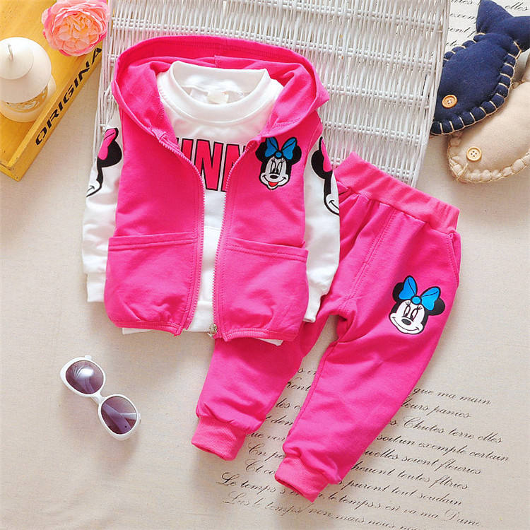 2020 Girls Clothing Sets Baby Clothes Spring Autumn Long Sleeve Shirt + Vest + Pants 3pcs Cartoon Outfit Kids Clothes Set