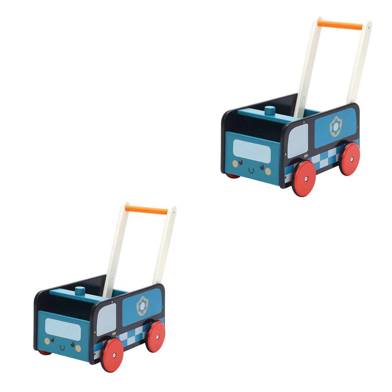 Hot sell wooden toys baby blue toy police car outside toys