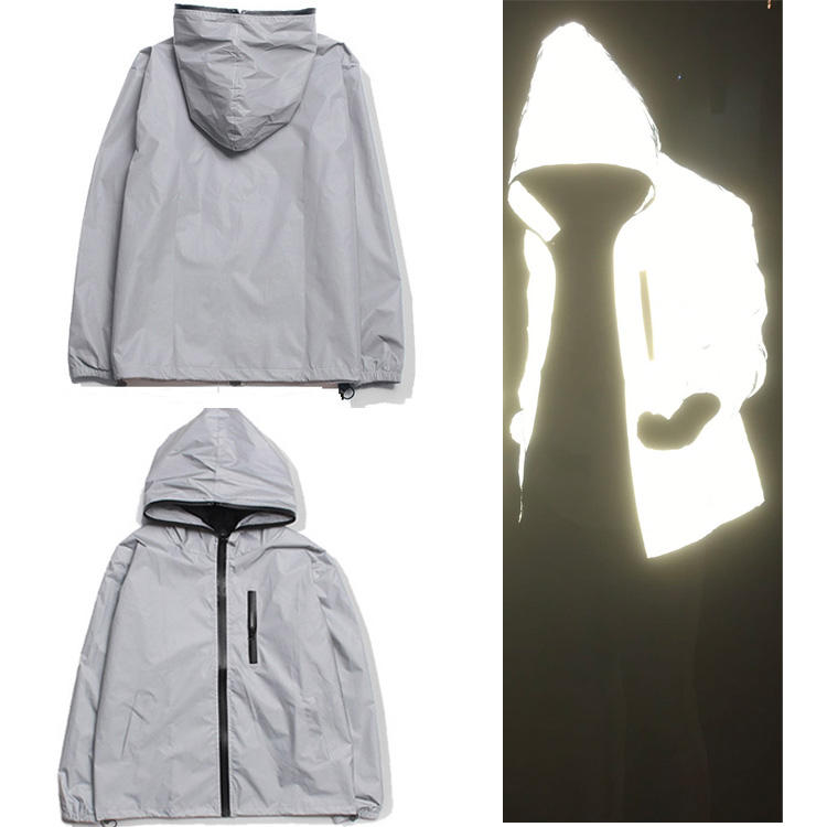 china manufacturer hot sale custom private logo wind breaker new fashion high light reflective hip hop hoodie reflect jacket