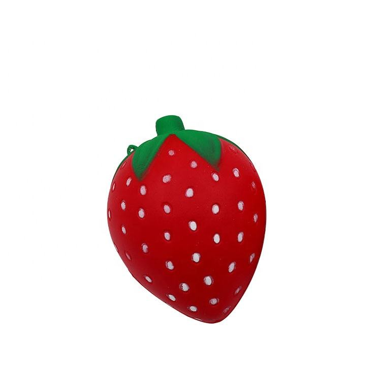 Hot sell fruits series PU foam ball imitation Strawberry Decompression toy