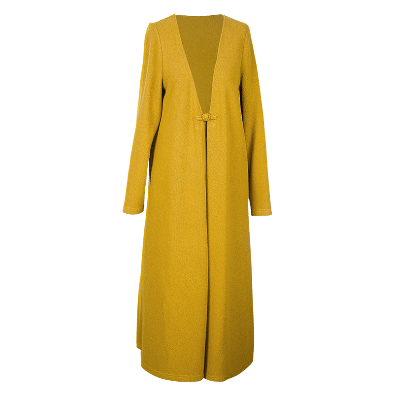 New Fashion Temperament Literary Yellow Long Sweater Spring And Autumn Coat Jacket Outside Women's Cardigan