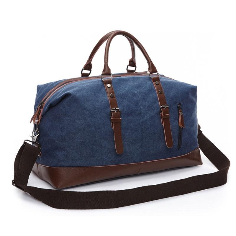 Men Canvas Travel Shoulder Luggage Bags Large Capacity Handbag Business Casual Vintage Leatherスポーツバッグ