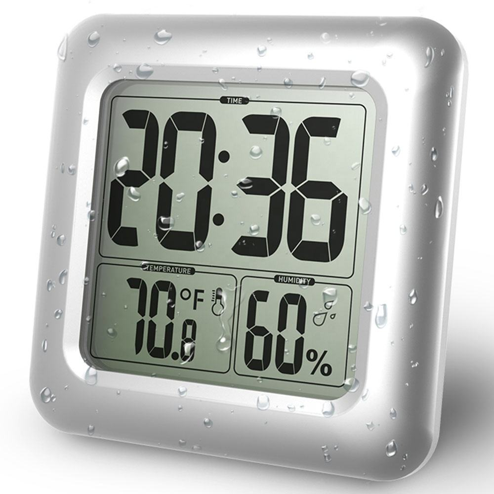 BALRD B0006 Digital Bathroom Wall Clock Big LCD Waterproof with Temperature Humidity Decorative Home Thermometer Shower Clock