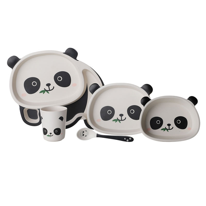 Constructive Eating 5 Pieces Set, Panda Divided Plate With Spoon For Kids