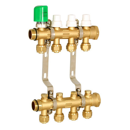 "Professional manufacturer of 2-10 way 1"" brass manifold for underfloor heating"