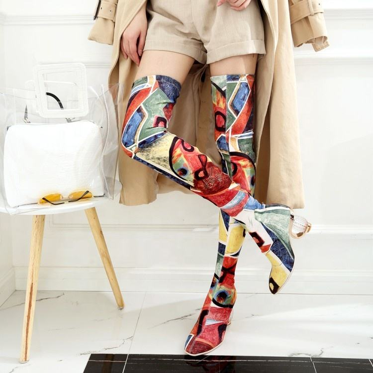fashion designer handmade stretch lycra art painting clear glass round heel women thigh high boots