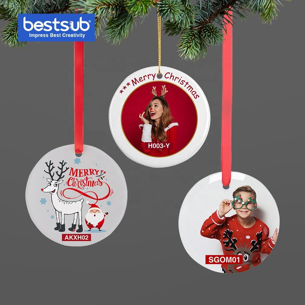 Bestsub small 2020 Promotion Custom Gift Sublimation Clear Glass Christmas Tree Decoration Ornament supplies