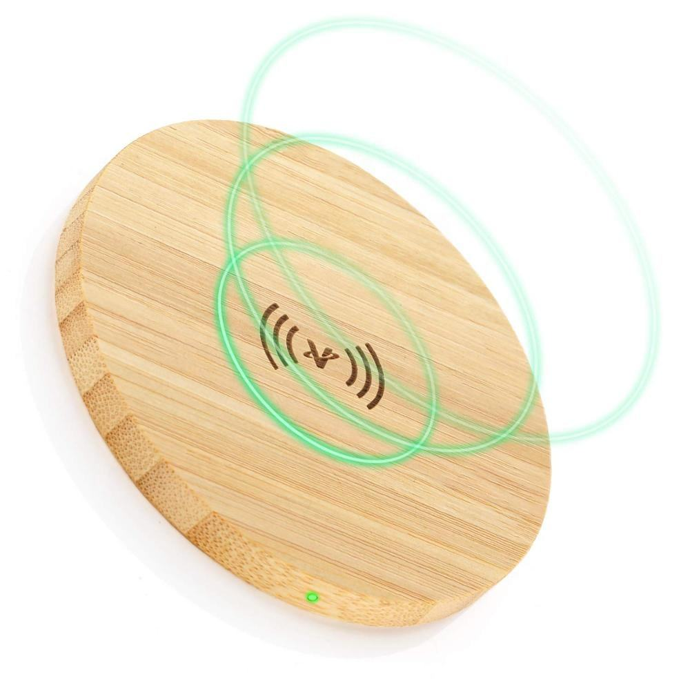 Round Bamboo Wood Wireless Charger
