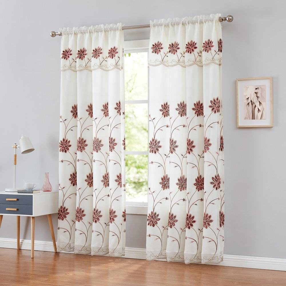 European Germany Turkish Sheer Embroidered Ready Made Wholesale Sheer Curtains with valances for the living room luxury