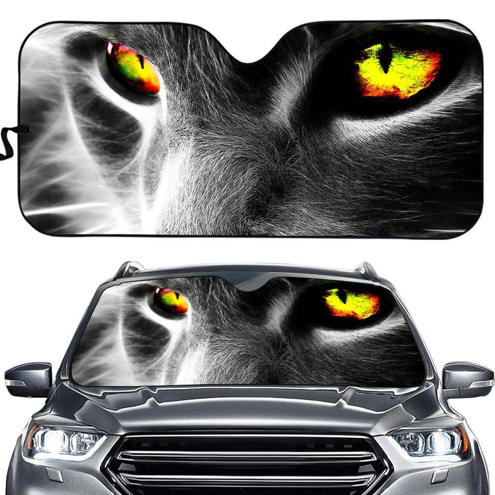 Cat Eyes Design Print On Demand Cardboard Windshield Sun Reflector Car Sunshade Custom Printing Car Sunshade