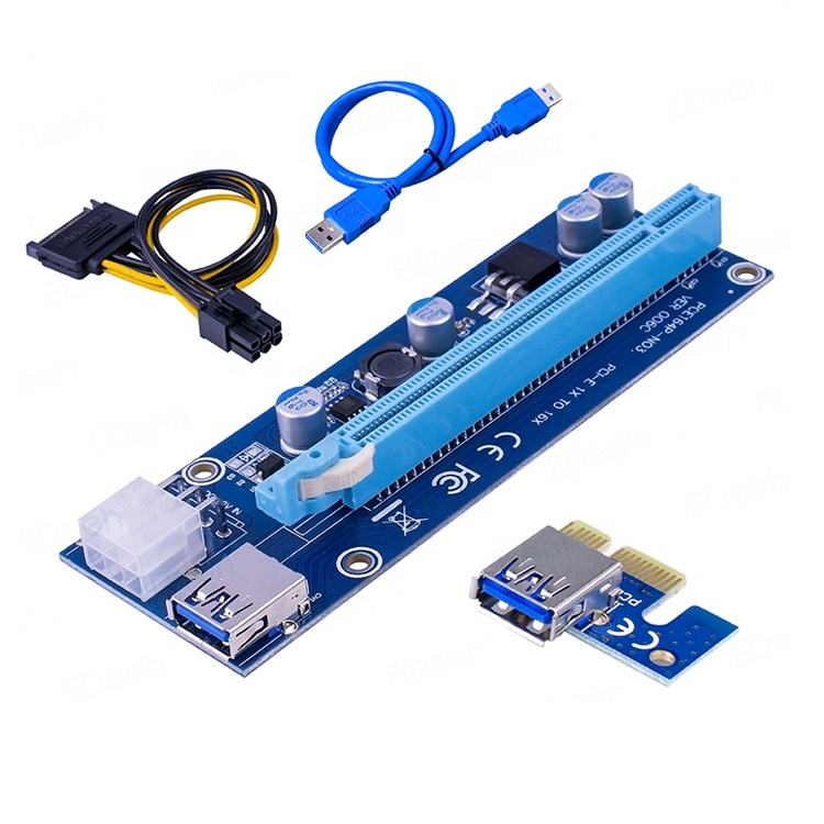 VER006C PCI Express PCIE PCI-E Riser Card 006C 6Pin 1x to 16x Extender USB3.0 Cable SATA to IDE for Bitcoin Mining Miner