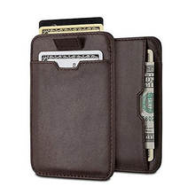 Genuine oil wax personal genuine rfid leather credit card holder, travel slim mens card holder wallet