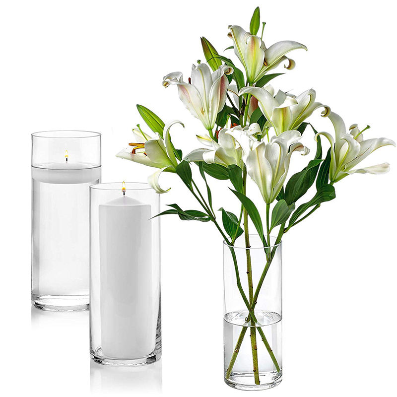 Wholesale Customized Glass Cylinder Vases 10 Inch Tall Multi-use Pillar Candle, Floating Candles Holders or Flower Vase