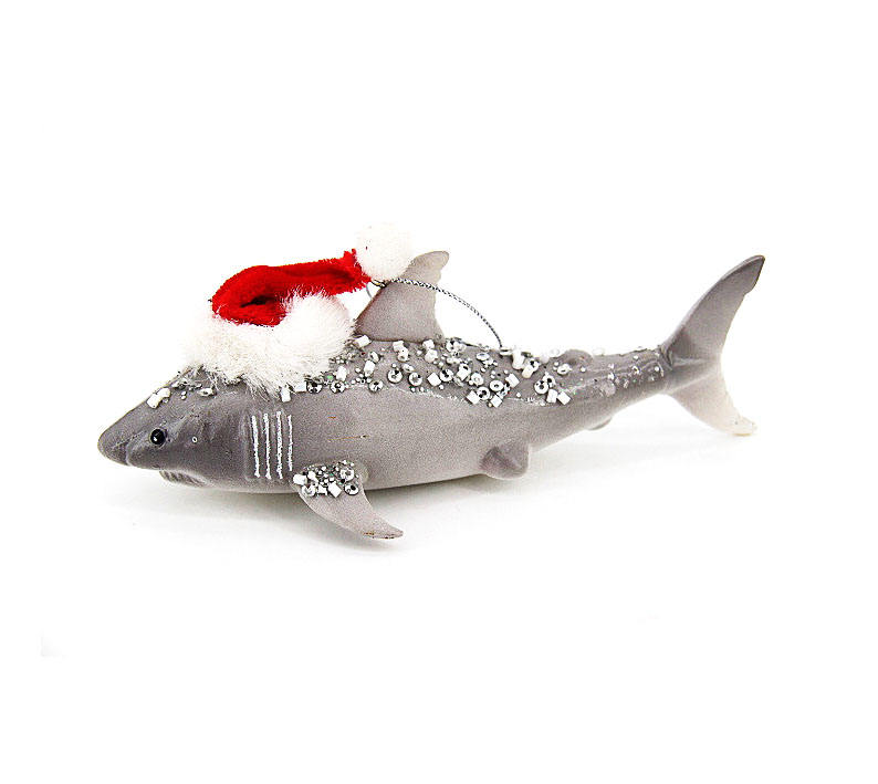 Artificial ocean animal shark shape ornament Christmas handmade glass blown shark ornament for christmas tree decoration