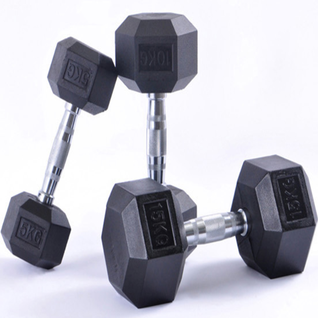 Competitive Products Gym Fitness Power Exercise Rubber Coated cast iron Hex Dumbbell for sale Durable covered dumbbell