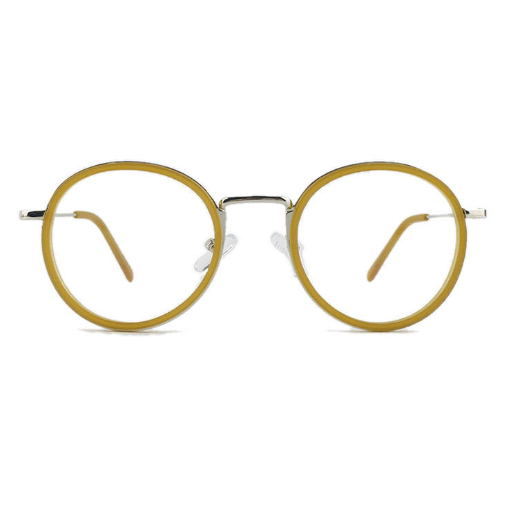 acetate combine metal temple hot sale retro round optical eyeglasses and optical frame
