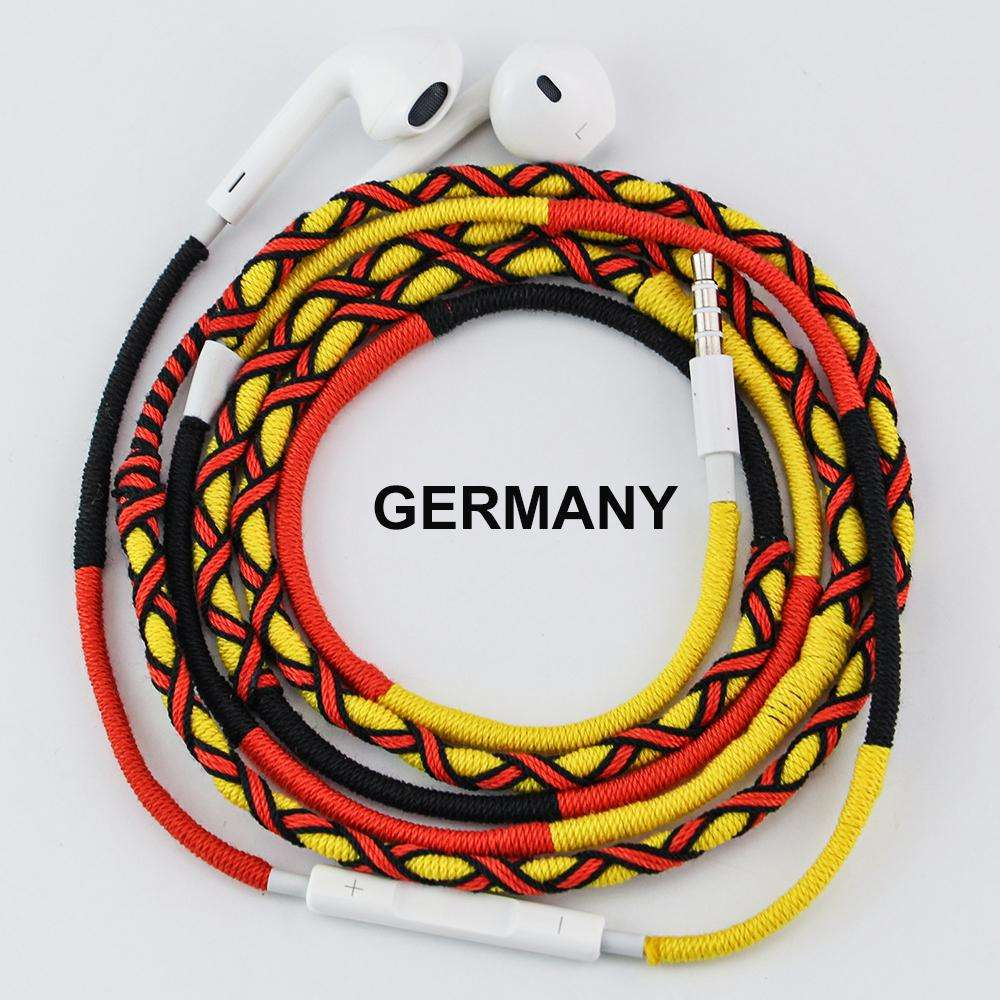 Urizons custom OEM design for national flag soccer football team handmade rope braided headphone earphones wired with mic