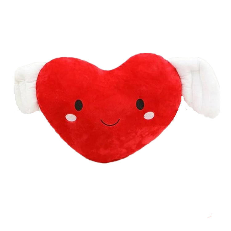 Plush Angel Heart Shaped Stuffed Bed Cushion Pillow For Sofa Home Decor
