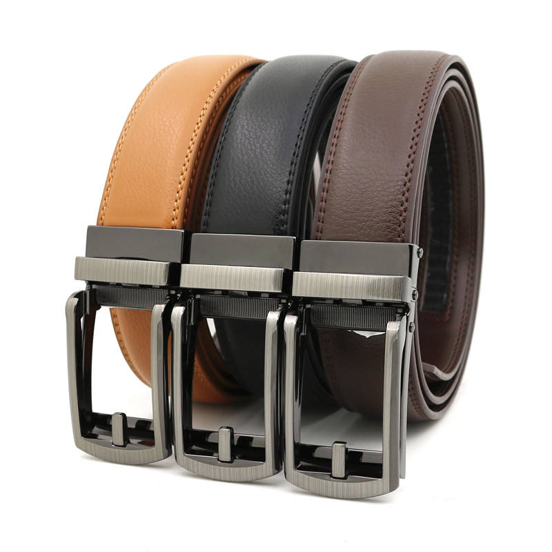 LQbelt New Men's Automatic Buckle Click Belt Factory Split Leather Belts For Men Japan Market Wholesale 14 Colors Stock Belts