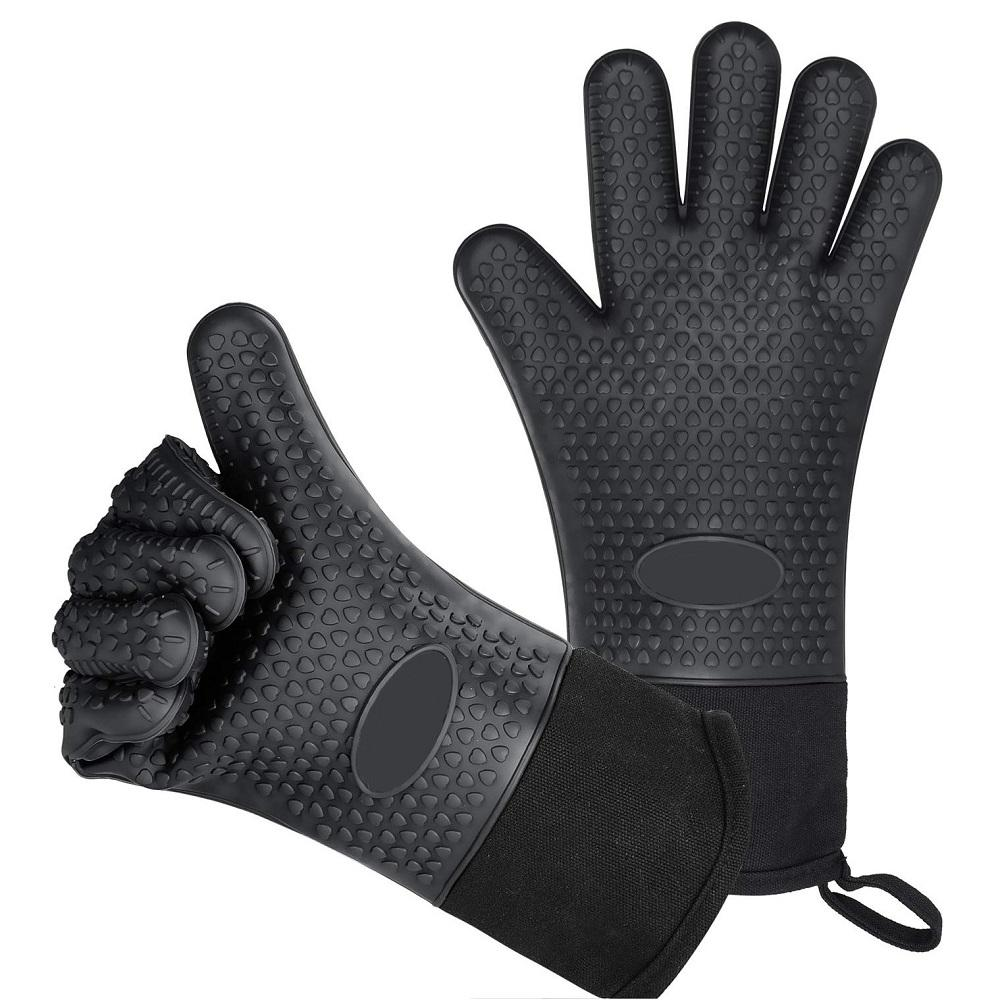 Food Grade Thick Heat Resistant Silicone Glove BBQ Grill Gloves Kitchen Barbecue Oven Cooking Mitts Grill Baking Gloves