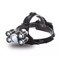 GTYJ5016 high power zoomable headlamp waterproof t6 hiking hunting rechargeable 5 led zoom head lamp