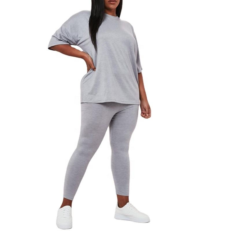 Custom grey two piece set women clothing set oversized t shirt and leggings siqin OEM manufacturer